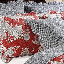 None - Lorraine Quilted Standard-size Shams (Set of 2) - Update your bedroom decor with this modern,yet retro Lorraine sham set. Festooned with flower blossoms outlined in black on a rich red background,these shams add energy and style to any living space.