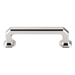 """Top Knobs - Emerald Pull 3 3/4"""" (c-c) - Polished Nickel - Length - 4 11/16"""", Width - 7/16"""", Projection - 1 1/4"""", Center to Center - 3 3/4"""", Base Diameter - 7/8"""""""