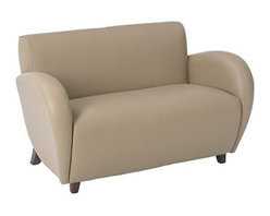 Office Star - OSP Furniture Lounge Seating SL2472EC11 Eleganza - Taupe Eco Leather Loveseat w/ - Eleganza - Taupe Eco Leather Love Seat with Cherry Finish Legs. Shipped Assembled. Rated for 500 lbs. distributed weight.