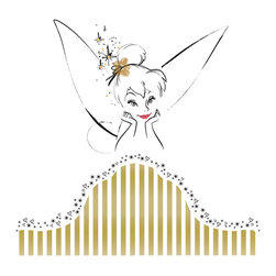 """RoomMates Peel & Stick - Tinkerbell Headboard Giant Wall Decal - Have sweet dreams with this wall decal on the wall behind your bed. This elegant design will add a bit of sparkle and magic to any girl's bedroom, no matter what her age. Each set includes a stylish gold headboard, a sketched image of Tinker Bell, and the phrase """"never give up your dreams."""" Simply place it at the head of any bed or even behind other furniture to add instant flair to any wall."""