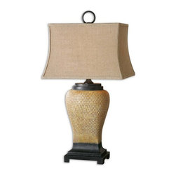 Uttermost - Melitta Ceramic Table Lamp - Pitted ceramic base finished in caramel undertones with a light gray wash, pale yellow highlights and aged black accents.