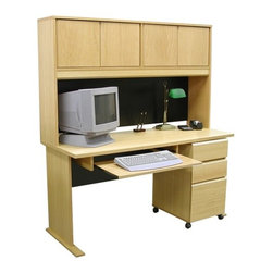 """Rush Furniture - Modular Real Oak Wood Veneer 60"""" W Panel Office Computer Desk Suite II - Features: -Panel office desk suite II. -Modular Real Oak Wood Veneer collection. -Real wood veneers. -Hutch design incorporates modesty panel and enables space maximization. -File drawer area accommodates standard and legal paper. -File cabinet rides on casters for convenient mobility. -Commercial quality manufacture. -Finished on all sides. -Great addition to a home office or large corporate site. -Comes ready to assemble. -Comes with 5-year warranty against manufacturer defects. Specifications: -Desk dimensions: 29.5"""" H x 60"""" W x 24"""" D. -Hutch dimensions: 36"""" H x 60"""" W x 12"""" D. -Keyboard kit dimensions: 4.5"""" H x 30.62"""" W x 17.25"""" D. -3-Drawer file dimensions: 28"""" H x 15.88"""" W x 19.5"""" D. Purchased on its own or in multiples, this comprehensive desk setup offers excellent versatility. We have matched a substantial 4-door hutch and 3-drawer mobile file with the Veneer Office 60"""" desk model and included a pull-out keyboard tray for workspace organization and convenience. Each of the Veneer Office pieces is furnished consistently in beautiful American oak veneer and designed with a """"modular"""" arrangement in mind for convenient mixing and matching. What this means for our customers is a stylish selection of furnishing elements that will enable your home office or corporate site to achieve its functional best. Each piece is furnished with thick plain-sliced panels that are UV-cured and multi-coat finished, both front and back, to create a balanced and chip resistant board that is more stable and won't bow in extreme temperatures or moist environments."""