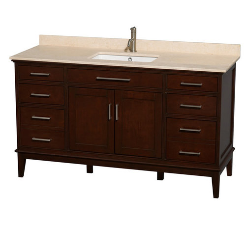 Wyndham Collection - 60 in. Eco-Friendly Single Sink Vanity - Includes ivory marble countertop with backsplash and undermount square porcelain sink. Faucet not included. Transitional style. Pre-drilled for single hole faucet. Practical floor-standing design. Plenty of storage and counter space. 12-stage wood preparation, sanding, painting and hand-finishing process. Highly water-resistant low V.O.C. sealed finish. Six deep doweled drawers. Two functional doors. One storage shelf behind doors. Fully-extending under-mount soft-close drawer slides. Concealed soft-close door hinges. Metal exterior hardware with brushed chrome finish. Engineered to prevent warping and last lifetime. Made from zero emissions solid birch hardwood. Dark chestnut finish.