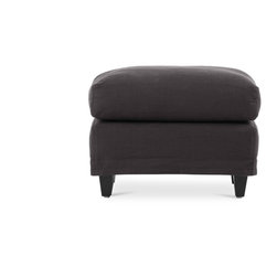 Bryght - Polo Gray Ottoman - The Polo ottoman serves to combine casual elegance in a modern sophisticated form. Comfortable top cushion with the added feature of removable covers on a sleek profile creates function with style. Ideally paired with the Polo armchair.
