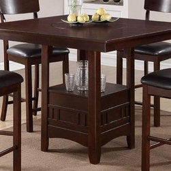 POUNDEX Furniture - 5 Piece Counter Height Dining Table Set with Lazy Susan - 47 - Set includes 1 Counter Height Table and 4 High Chair