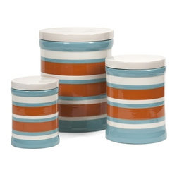 "IMAX - Miles Striped Canisters - Set of 3 - The contrasting color scheme of this set of three blue, orange and white canisters add interest while making a beautiful set of storage pieces for home or office. Item Dimensions: (7.75-10-12.5""h x 5.25-7.5-10""w x 6-7.5-10"")"