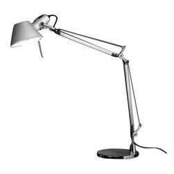 """Artemide - Artemide Tolomeo mini table lamp with base - The Tolomeo mini table lampfromArtemide has been designed by Michele De Lucchi and Giancarlo Fassina. This table mounted luminaire is wonderful for adjustable direct task incandescent lighting. The Tolomeo mini comes equipped with fully adjustable articulated arm body structure in extruded brilliant, natural anodized aluminum. The joints, tension control knobs, and mountings are in polished die-cast aluminum. The diffuser is made of stamped, anodized matte aluminum, which is rotatable 360 degrees. The Tolomeo mini table lamp is a contemporary and practical way to illuminate small spaces. UL lised.   Product Description:  The Tolomeo mini table lampfromArtemide has been designed by Michele De Lucchi and Giancarlo Fassina. This table mounted luminaire is wonderful for adjustable direct task incandescent lighting. The Tolomeo mini comes equipped with fully adjustable articulated arm body structure in extruded brilliant, natural anodized aluminum. The joints, tension control knobs, and mountings are in polished die-cast aluminum. The diffuser is made of stamped, anodized matte aluminum, which is rotatable 360 degrees. The Tolomeo mini table lamp is a contemporary and practical way to illuminate small spaces. UL listed.   Item is in stock and ready for immediate shipment!   Details:     Manufacturer:  Artemide   Designer:  Michele De Lucchi and Giancarlo Fassina   Made in: Italy   Dimensions:   Height: Max 40.5"""" (103cm) X Width: Max 26.75"""" (68cm)     Light bulb:   1 X 100W incandescent      Material  aluminum, steel,"""