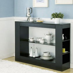 Furniture of America - Furniture of America Khanelle Black Multi-storage Tempered Glass Dining Buffet T - Give yourself an extra hand while serving your guests in the dining room,thanks to this modern black buffet table. This contemporary table has tempered glass shelves and an open design that allows you to store and display items easily.