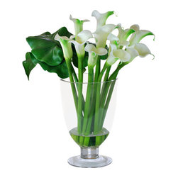 "Jane Seymour Botanicals - Calla Lilies in Glass Vase, 22"" - Intriguingly arranged with blooms on one side and leaves on the other, this calla lily bouquet brings instant elegance to your home. And you needn't tell a soul that these ""forever flowers"" weren't cut from your garden this morning!"
