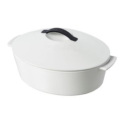 Revol - Revol Revolution Line Oval Cocotte with Lid, Satin White - Free range cooking: You're free to use this revolutionary new cocotte on virtually any heat source, including stovetop gas, ceramic, glass, electric, halogen and induction … and of course, any kind of oven. All of which greatly expands your sphere of culinary potential.