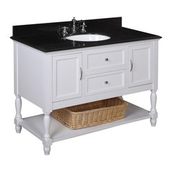 Kitchen Bath Collection - Beverly 48-in Bath Vanity (Black/White) - This bathroom vanity set by Kitchen Bath Collection includes a white cabinet with soft close drawers, black granite countertop, single undermount ceramic sink, pop-up drain, P-trap, and wicker basket. Order now and we will include the pictured three-hole faucet and a matching backsplash as a free gift! All vanities come fully assembled by the manufacturer, with countertop & sink pre-installed.