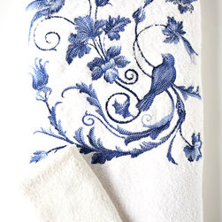 Product - Our beautiful cobalt Rossignol embroidery is shown in a bath sheet and wash cloth set on ivory terry and cobalt trim. Set includes a bath sheet (36x75) and a wash cloth (13x13). 100% Italian 500gram weight terry, embroidered and sewn in Redmond, WA, USA. Photo credit to ANALI