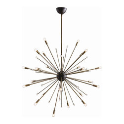 """Arteriors - Arteriors Home - Imogene Large Chandelier - 89979 - Inspired by a trip to Paris, this 24 light modern starburst design in vintage brass is the perfect choice if you want drama, lots of light and a mid-century look. Also available in a larger size (89979). Shown with small clear globe bulbs. Features: Imogene Collection Large Chandelier24 LightsVintage BrassCrystal Black Iron Some Assembly Required. Dimensions: Adj. H: 46"""" 58"""" x 42"""" Dia"""