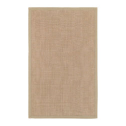 None - Town Beige Cotton Border Rug (6' x 9') - Constructed of sisal and cotton this lovely rug is indoor/outdoor friendly with a solid pattern. Featuring a light beige finish, this handsome transitional rug has a 0.345 inch pile.