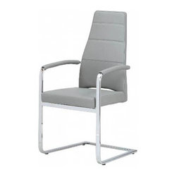 White Line Imports - Leatherette Arm Chair in Gray - Wipe clean with a dry cloth. Brushed nickel finish. Assembly required. 21 in. W x 23 in. D x 40 in. H (78 lbs.)