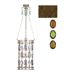 Fine Art Lamps - Encased Multi-colored Gems Lantern, 711640-1ST - A cylindrical cage of glittery faceted gems is the focal point of this fascinating fixture. Choose from clear or complementing crystals to go with the warm bronze patina of the frame.