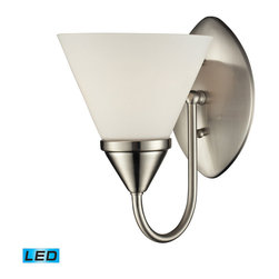 Elk - 1 Light Glass Bath Bar in Satin Nickel Finish - LED offering up to 800 lumens (60 watt equivalent) with full range dimming. includes an easily replaceable LED bulb (120v).