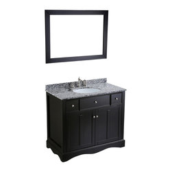 Bosconi - 39'' Bosconi SB-2205 Vanity Set - This Bosconi Contemporary Vanity offers the most discerning of customers, an alternative form of style and functionality and is complemented by a wonderful horizontally mounted mirror, cabinets and drawers. The Waves of Carrara Marble top, backsplash and black frame ensure high quality and durability with room to customize the vanity area allowing you to match it with the rest of the bathroom quarters. Bosconi is a long term solution to your bathroom needs.