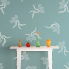 Japanese Lace Ferns Stencil - Japanese Lace Ferns wall stencil set. Stencil a scattered allover pattern with three different versions of a classic kimono floral pattern.