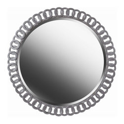 Kenroy - Kenroy KR-61015 Geo Wall Mirror - Whether your home is traditional or contemporary, Geo will be sure to make an impact. At 34 inches wide, Geo is framed with a bright silver intertwined pattern. This rounded mirror adds glamour and elegance to any space in your home.