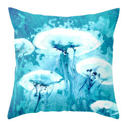 Brazen Design Studio - Decorative Pillow Cover - Luminous - Jellyfish Throw Pillow Cushion - Fine Art H - Liven up your space with a fine art pillow cover featuring my original artwork! This listing is for one pillow cover featuring my vibrant watercolor painting, on 100% spun designer polyester poplin fabric, a stylish statement to brighten up any room.