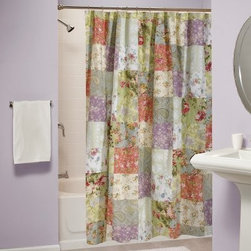 Blooming Prairie Shower Curtain - The Blooming Prairie Shower Curtain brings a cozy cottage style to your sunlit bathroom. This charming shower curtain is made from 100% cotton and is lined for increased privacy. The curtain features a bright patchwork motif that utilizes a dozen different floral designs. Reinforced holes provide a secure place to attached the curtain to your shower rod. Intended for use with a waterproof liner (not included).About Greenland Home FashionsFor the past 16 years, Greenland Home Fashions has been perfecting its own approach to textile fashions. Through constant developments and updates - in traditional, country, and forward-looking styles – the company has become a leading supplier and designer of decorative bedding to retailers nationwide. If you're looking for high quality bedding that not only looks great but is crafted to last, consider Greenland.
