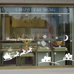 ColorfulHall Co., LTD - Window Stickers Diy Santa Claus And Elk Deer Home Houses Moon Stars, White - Window Stickers DIY Santa Claus and Elk Deer Home Houses Moon Stars