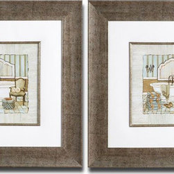 "Uttermost - Vintage Luxe Framed Art Set of 2 - Quaint, Vintage Bathroom Prints Are Accented By Textured Ivory Mats. Frames And Fillets Have Champagne Silver Leaf Bases With Brown And Black Wash. Prints Are Under Glass.; Collection: Vintage Luxe; Designer: Grace Feyock; Material: Glass, Plastic; Finish: Frames And Fillets Have Champagne Silver Leaf Bases With Brown And Black Wash. .; Mirror: 0.118""D x 19""W x 19""H; Dimensions: 1""D x 24.375""W x 24.375""H; Uttermost's Art Combines Premium Quality Materials With Unique High-style Design.; With The Advanced Product Engineering And Packaging Reinforcement, Uttermost Maintains Some Of The Lowest Damage Rates In The Industry. Each Product Is Designed, Manufacturered And Packaged With Shipping In Mind."