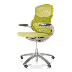 Formway Design - Knoll Generation Chair - Knoll Generation Chair               designed Formway Design                            At A Glance:               The Knoll Generation Chair is a truly one of a kind office chair. Knoll is a one of a kind furniture giant, so that makes plenty of sense. Generation is a completely modern chair, outfitted with advanced ergonomics, a sleek, unique design, and a novel concept; build a chair where the user dictates the sitting position, and not the other way around. Such an idea might come around only once in a...wait for it...generation.                                What's To Like:               The design, first and foremost. Generation has a zig zag right in the middle of the back of the chair, a kind of accordion angle, and that's where the secret to its success lies. That strange angle is actually a hinge, and it allows the person who sits in t