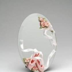 CG - 6 Inch Mirror Adorned with Pink Ballet Slippers and Roses with Ribbons - This gorgeous 6 Inch Mirror Adorned with Pink Ballet Slippers and Roses with Ribbons has the finest details and highest quality you will find anywhere! 6 Inch Mirror Adorned with Pink Ballet Slippers and Roses with Ribbons is truly remarkable.