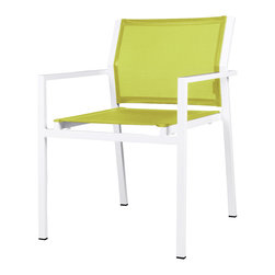 Mama Green - Allux Stacking Chair, Lime - The Allux Stacking Chair is a contract grade stacking dining chair. It comes in any aluminum/sling combination you can come up with. Customization of this chair is limited to stock aluminum and sling color options.