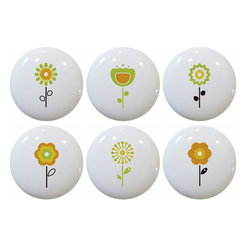 Carolina Hardware and Decor, LLC - Set of 6 Retro Flower Ceramic Knobs - 1 1/2 inch white ceramic knobs with one inch mounting hardware included.  Great as cabinet, drawer, or furniture knobs.  Adds a nice finishing touch to any room!