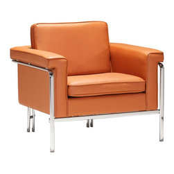 Contemporary Lounge Chair in Terracotta - Set the right tone with the Contemporary Club Chair. From the seat's clean lines, chrome steel frame, and terracotta leatherette seat surface, the chair adds a sophisticated note to any quiet corner or reading area.