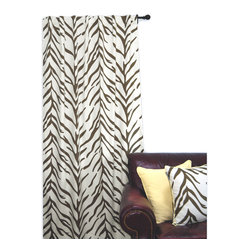 EZ Living Home Zebra Window Panel 84L Brown on Cream