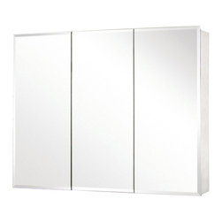 Pegasus - Pegasus Tri-View Beveled Mirror 48W x 31H in. Medicine Cabinet SP4590 - 511288 - Shop for Bathroom Cabinets from Hayneedle.com! Whether you're the kind who has one toothbrush and a comb or you have a standing account at ULTA you'll be glad you have the Pegasus Tri-View Beveled Mirror 48W x 31H in. Medicine Cabinet SP4590. The rust-proof aluminum body offers you three doors for convenient access to the mirrored interior. Once inside you have nine adjustable glass shelves to get you the bathroom storage that you need. Each door features self-closing hinges that open to 110 and sport a neatly beveled mirror face that fits in with any bathroom decor. This cabinet can be flush-mounted or hung directly on your bathroom wall. About PegasusThink Pegasus when it comes to kitchen or bath needs. Pegasus is widely known for their signature faucets unique bath accessories and furniture vanities mirrors pedestal sinks toilets and kitchen sinks. Pegasus offers special collections featuring products that coordinate with an elegant yet sophisticated style. With designs spanning from tasteful and traditional to streamlined and contemporary Pegasus provides high-quality products and fixtures for a reasonable cost and promotes the philosophy of luxury without the extravagance.