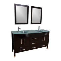 """63"""" Double Sink Frost Green Glass Top Vanity - Espresso - Cabinet is made out of  Pure Oak Wood"""