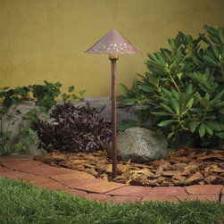 LANDSCAPE - LANDSCAPE 15443TZT Decorative Hammered Roof Path Light - Pierced shade sheds decorative patterned light over shrubs or gardens. Coordinates with matching deck light (KCH-15063).