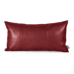Howard Elliott - Avanti Apple Kidney Pillow - Pillows are made to order. Change up color themes or add pop to a simple sofa or bedding display by piling up the pillows in a multitude of colors, textures and patterns. This Avanti Pillow features a bold apple red color, textured grain and a paneled design to give the look of true leather. This Avanti Apple piece is 100% polyurethane finished in deep red. 11 in. x 22 in.