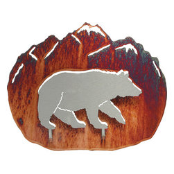 """Lazart - 3D Bear Rustic Metal Wall Art by Neil Rose 12"""" - 3D  Bear  Rustic  Metal  Wall  Art  by  Neil  Rose  -  12          With  a  rust  finished  mountain  background,  this  3D  bear  wall  art  is  perfect  for  your  rustic  decor.  Cut  from  sheet  steel,  this  metal  art  for  the  wall  captures  the  eye  every  time  you  enter  the  room.  Add  this  decorative  black  bear  accessory  to  your  rustic  bear  theme,  log  home  or  rustic  cabin  for  that  special  touch  you're  after.  This  metal  art  is  laser  cut  and  treated  with  a  heat  transfer  process  for  a  deep  honey  pinion  finish."""