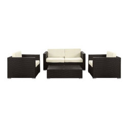 "LexMod - Concert 4 Piece Outdoor Patio Sofa Set in Espresso White - Concert 4 Piece Outdoor Patio Sofa Set in Espresso White - Create a tranquil background for artful conversations. Concerts arrangement of pieces reach their crescendo with the flick of the conductors wrist to produce a much desired scene. From the hum of opening chatter, to the climax of memorable bouts of laughter, join together and celebrate the melodious music of friendship. Concert is comprised of UV resistant rattan, a powder-coated aluminum frame and all-weather cushions. The set is perfect for cafes, restaurants, patios, pool areas, hotels, resorts and other outdoor spaces. Set Includes: One - Concert Outdoor Loveseat One - Concert Outdoor Coffee Table Two - Concert Outdoor Armchair Modern Outdoor Loveseat and Armchair Set, Synthetic Rattan Weave, Machine Washable Cushion Covers, Powder Coated Aluminum Frame, Water & UV Resistant, Ships Pre-Assembled Overall Product Dimensions: 57""L x 111.5""W x 29""H Coffee Table Dimension: 23.5""L x 43.5""W x 13""H Armchair Dimensions: 33.5""L x 33.5""W x 25.5""H Loveseat Dimension: 33.5""L x 63""W x 29""H Seat Dimensions: 25.5""L x 17""HBACKrest Height: 13""H - Mid Century Modern Furniture."