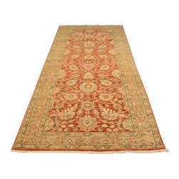 Oriental Rug, 4'X10' Rust Red Peshawar Wide Gallery Hand Knotted Rug SH12169 - Hand Knotted Oushak & Peshawar Rugs are highly demanded by interior designers.  They are known for their soft & subtle appearance.  They are composed of 100% hand spun wool as well as natural & vegetable dyes. The whole color concept of these rugs is earth tones.