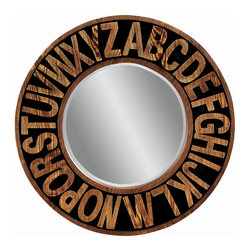 Bassett Mirror - Alphabet Round Wall Mirror - Oak Finish and Black Accents - Round. Measures: 36 in. Round.