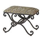 Uttermost - Aleara Wrought Iron Small Bench - Weathered, Wrought Iron Scrolled Bench With Soft Cushioned Top In Cream And Olive Linen-cotton Blend.