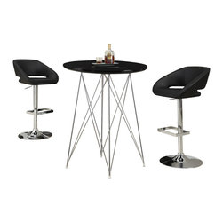"Monarch Specialties - Monarch Specialties 3-Piece 36 Inch Round Bar Table Set with Swivel Barstools - Create a trendy contemporary look with this glossy black 36"" diameter bar table. This piece features sleek chrome metal legs and a smooth surface ideal for drinks and tapas. This table is great for entertaining guest especially in smaller spaces. What's included: Bar Table (1), Barstool (2)."