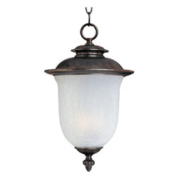 Cambria DC-Outdoor Hanging Lantern - Cambria Cast is a transitional style collection from Maxim Lighting International in Chocolate finish with Frost Crackle glass.