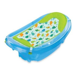 Summer Infant - Summer Infant Sparkle 'n Splash Newborn to Toddler Baby Bath in Blue - The Sparkle 'n Splash Newborn to Toddler Baby Bath grows with your child from newborn through toddler years. It features a newborn clip-on sling that wraps around your child for a relaxed bathing experience.