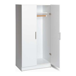 Prepac - Elite 32 in. Wardrobe Cabinet in White - This handsome white garage cabinet keeps everything neat and organized. It provides lofty storage space for your tools, utensils, paint cans and more. The bright white finish blends perfectly in any setting. Cabinet is 20 inches deep giving you lots of space. Use this contemporary style cabinet to store clothes, extra linens, towels and more. * Includes an instruction booklet. One fixed shelf and one hanging rail. Stylish brushed metal handles. 20 in. deep storage accommodates hangers. Doors with high quality European style 6-way adjustable hinges. MDF doors with profiled rounded edges. Durable laminate finish. CARB-compliant. Warranty: Five years limited. Made from laminated composite woods with a sturdy MDF backer. Made in North America. Assembly required. 32 in. W x 20 in. D x 65 in. HThe Elite 32 in. Wardrobe Cabinet is welcome in any part of the house, either as a stand-alone product or when combined with other pieces in the Elite Collection. The hanging rail is ideal for storing jackets, coats and other hanger-friendly clothing, while the fixed top shelf suits hats, scarves and other small items.