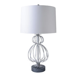 Gilded Nola - Lafitte Silver Table Lamp - Replication of a single basic shape around a circumference gives this lamp a fun airy form.The silver version is cooler and even more modern.