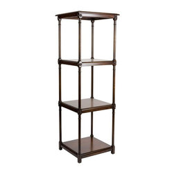 Pre-owned Kravet Avelina Tall Etagere - The Avelina etagere is an elegant 3 shelf etagere/display case featuring hand carved decorative corner medallions and  finished in a dark walnut wood stain.  This etagere was hand crafted in the USA.