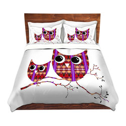 DiaNoche Designs - Duvet Cover Twill by Susie Kunzelman - Owl Suspenders Red - Lightweight and soft brushed twill Duvet Cover sizes Twin, Queen, King.  SHAMS NOT INCLUDED.  This duvet is designed to wash upon arrival for maximum softness.   Each duvet starts by looming the fabric and cutting to the size ordered.  The Image is printed and your Duvet Cover is meticulously sewn together with ties in each corner and a concealed zip closure.  All in the USA!!  Poly top with a Cotton Poly underside.  Dye Sublimation printing permanently adheres the ink to the material for long life and durability. Printed top, cream colored bottom, Machine Washable, Product may vary slightly from image.